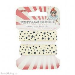 Bavlněná tištěná stuha - Vintage Circus - Hvězdy - 2m