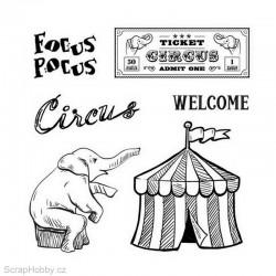 Gelové razítko - Vintage Circus - Focus - Pocus - 6ks
