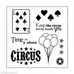 Gelové razítko - Vintage Circus - Cards - 8ks