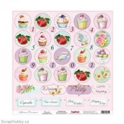 Jednostranný papír - Afternoon Tea - Cupcakes