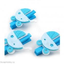 Dřevěné kolíčky s kočárkem - modré