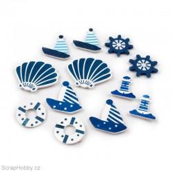Dřevěná dekorace - Námořnické motivy - 12ks