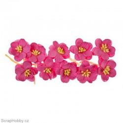 Kytičky papírové Třešňové - 10ks - Růžové