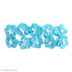 Kytičky papírové Třešňové - 10ks - Modré