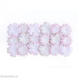 Kytičky z morušového papíru - Bílá s růžovou.