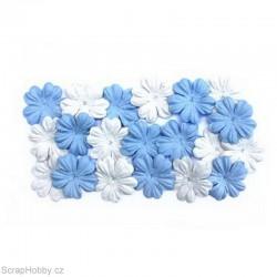 Kytičky z morušového papíru - Bílo - modré