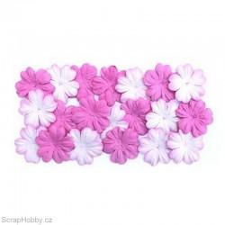 Kytičky z morušového papíru - Bílo-růžové + růžové.
