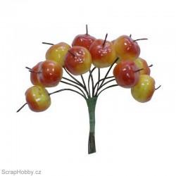 Dekorační svazek žluto-červených jablíček - 12ks.