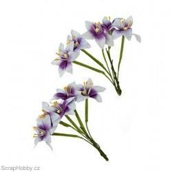 Sada kytiček - Lilie - bílo-fialové - 10ks