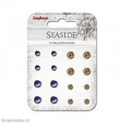 Sada hřebíčků - Seaside - Vintage s kamínkem - modrý, žlutý
