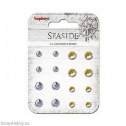 Sada hřebíčků - Seaside - Vintage s kamínkem - světle modrý, žlutý