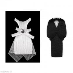 Textilní ženich a nevěsta 3cm