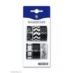 Washi páska - Sada - černo-bílá
