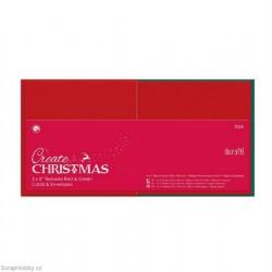 Blahopřání a obálky - 50ks - červeno-zelené - čtvercové - 13x13