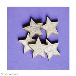 Dřevěné hvězdičky - 5ks
