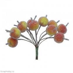 Dekorační svazek ojíněných jablíček - 12ks.
