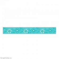 Washi páska - Tyrkysové kytičky - 8m x 15mm