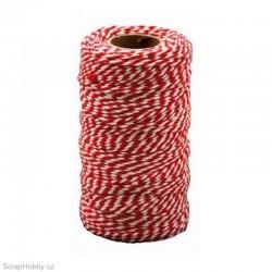 Bavlněná šňůrka - červeno - bílá - 2mm