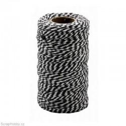Bavlněná šňůra - černo - bílá - 2mm x 10m