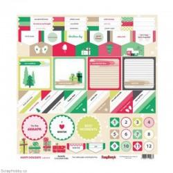 Oboustranný papír - Accents - z kolekce Happy Holidays