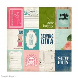 Oboustranný papír - Sew Fun - kolekce Sew Lovely