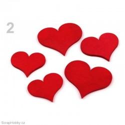 Dřevěná srdíčka - červená - 24ks