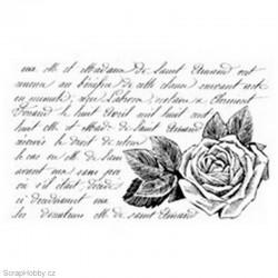 Gelové razítko - Růže s textem