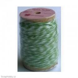 Dvoubarevný stáčený provázek - zeleno-bílý