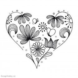 Razítko dřevěné - Květinové srdce