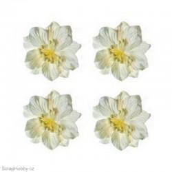 Kytičky z papíru - Gardenie - bílá - 4ks