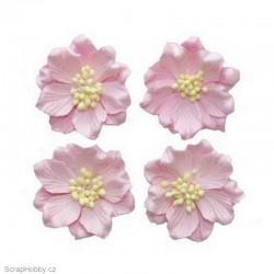 Kytičky z papíru - Gardenie - světle růžová - 4ks