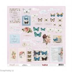 Jednostranný papír - Butterflies - Happiness