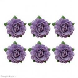 Sada kytiček - Čajové růže - 6ks - fialové