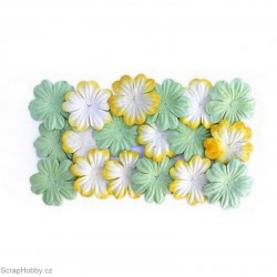 Kytičky z morušového papíru - Zelené a bílo-žluté