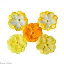 Kytičky z papíru - Žluté - 5ks