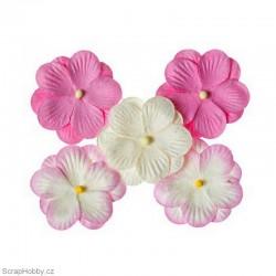 Kytičky z papíru - Růžové - 5ks