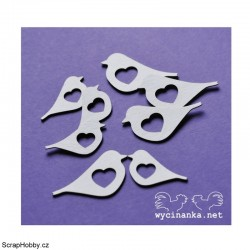 Ptáčkové se srdíčky - 8ks III.