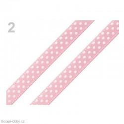 Saténová stuha s puntíky - růžová