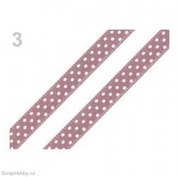 Saténová stuha s puntíky - matně fialová