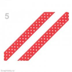 Saténová stuha s puntíky - červená