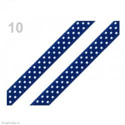 Saténová stuha s puntíky - modrá