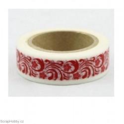 Květiny červené v bílé - 10m x 15mm