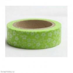 Drobné kvítky v zelené - 10m x 15mm