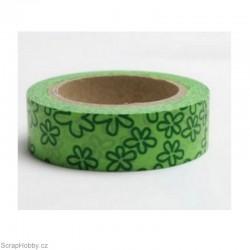 Kytičky - veselé - zelené - 10m x 15mm