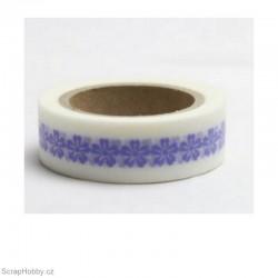 Modro-fialové kytičky - 10m x 15mm