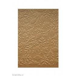 Embosovaná kartička - listy - dubové a bukové - recyklované