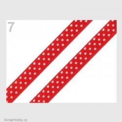 Saténová stuha s puntíky -jasně červená