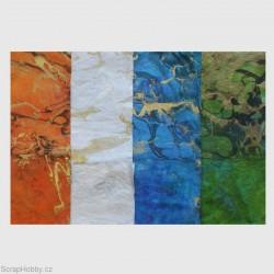 Morušový papír - Strojně čerpaný - Milano silk - oranžový
