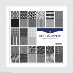 Sada papírů - Černobílé 30 listů - 30x30cm