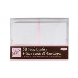 Blahopřání a obálky - 50ks - bílé - A6